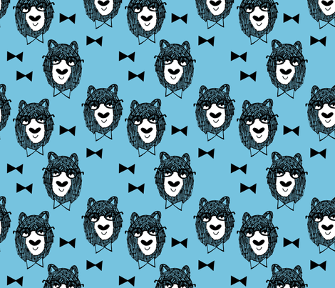 Bowtie Bear - Soft Blue/White/Black fabric by andrea_lauren on Spoonflower - custom fabric