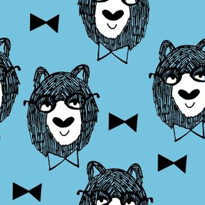 Bowtie Bear - Soft Blue/White/Black
