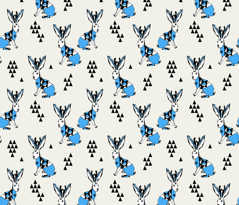 Geometric  Jackalope - Champagne/Soft Blue fabric by andrea_lauren on Spoonflower - custom fabric