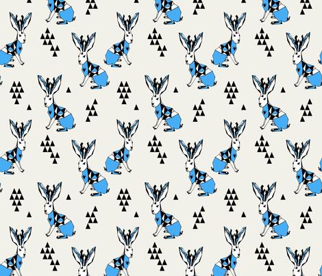 Geometric  Jackalope - Champagne/Soft Blue fabric by andrea_lauren on Spoonflower - custom fabric