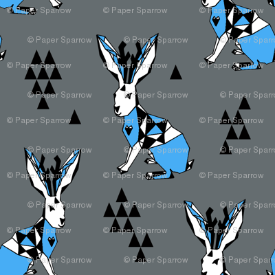 Geometric Jackalope - Charcoal/Soft Blue by Andrea Lauren