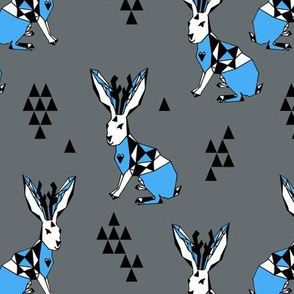 Geometric Jackalope - Charcoal/Soft Blue
