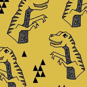"""dinosaurs // dinos dino dinosaurs yellow kids baby xlarge 5"""" tall"""