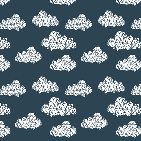Geo Clouds - Parisian Blue (Smaller Version) by Andrea Lauren fabric by andrea_lauren on Spoonflower - custom fabric