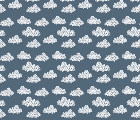 Geo Clouds - Payne's Gray (Smaller Version) by Andrea Lauren fabric by andrea_lauren on Spoonflower - custom fabric