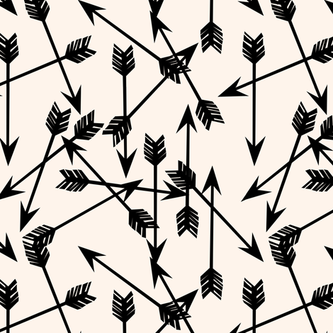 Arrows Scattered - Champagne/Black - Small by Andrea Lauren fabric by andrea_lauren on Spoonflower - custom fabric