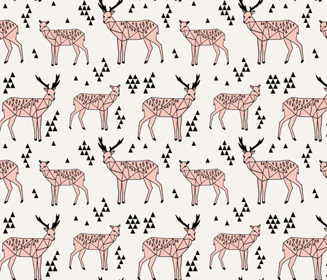 Geo Deer - Light Pink by Andrea Lauren fabric by andrea_lauren on Spoonflower - custom fabric