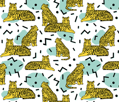 Rad Tiger Party - Custom Colors by Andrea Lauren fabric by andrea_lauren on Spoonflower - custom fabric