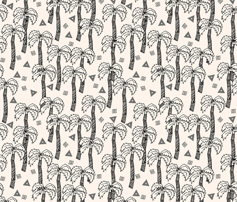 Tropical Palms - Charcoal/Champagne fabric by andrea_lauren on Spoonflower - custom fabric