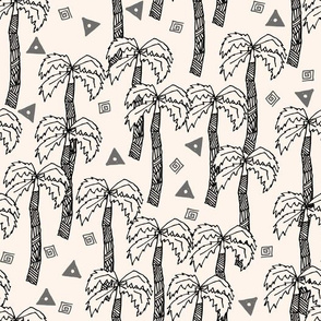 Tropical Palms - Charcoal/Champagne