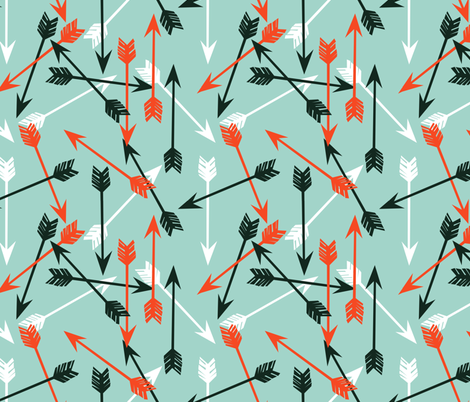 Arrows Scattered - Pale Turquoise/Vermillion/Rifle Green/White by Andrea Lauren
