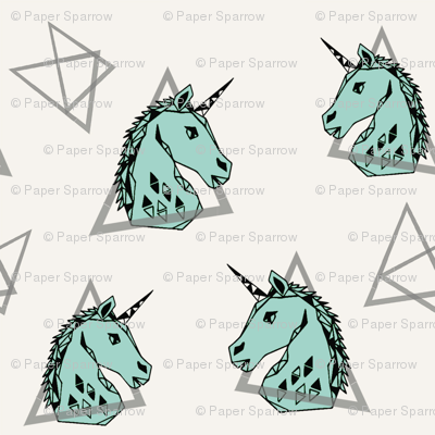 Geometric Unicorn - Pale Turquoise by Andrea Lauren