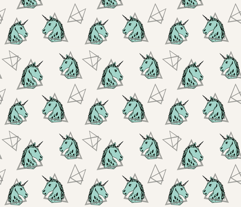 geo unicorn// 80s rad mint unicorn edgy trendy cool unicorn  fabric by andrea_lauren on Spoonflower - custom fabric