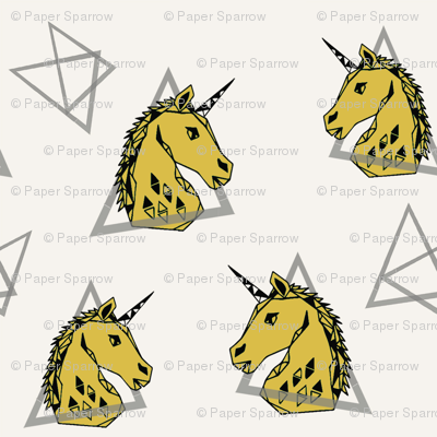 Geometric Unicorn - Mustard by Andrea Lauren