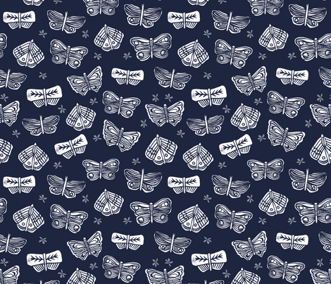 Butterflies Mixed - Imperial Blue/White by Andrea Lauren fabric by andrea_lauren on Spoonflower - custom fabric