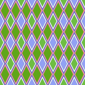 Melody's Harlequin Diamonds in blue green and pink
