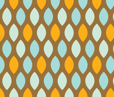 Mint and orange leaves fabric by origamizoo on Spoonflower - custom fabric