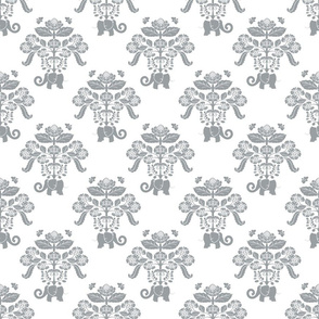Elephants in My Garden Damask Gray & White