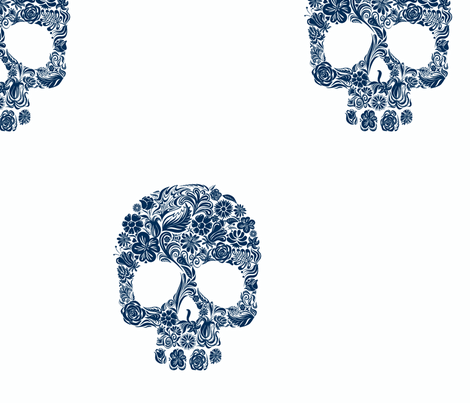 dia de los muertos navy blue fabric by socially_unacceptable_shop on Spoonflower - custom fabric