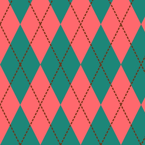 pink and green argyle