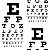 Standard Vision Chart in Black and White