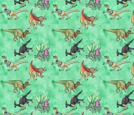 Dinos In Costume fabric by tlouey on Spoonflower - custom fabric