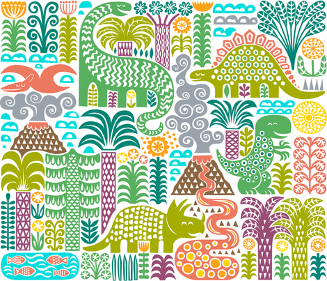 a day in pre-history fabric by dennisthebadger on Spoonflower - custom fabric