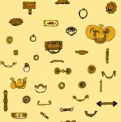drawer pulls, gold