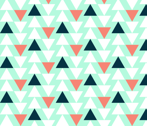 Mint with dark navy, white and salmon triangles fabric by >>mintpeony<< on Spoonflower - custom fabric