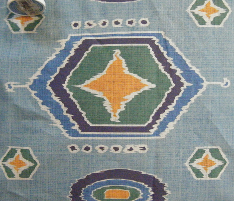 Hexagon Ikat in blues and gold