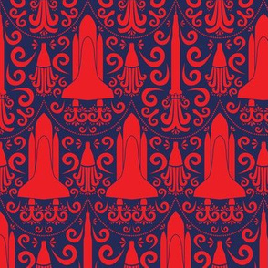 Rocket Science Damask (Red and Navy)