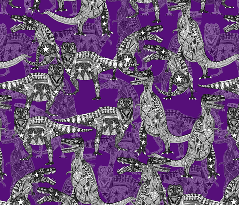 Children of the Late Cretaceous ~ purple fabric by scrummy on Spoonflower - custom fabric