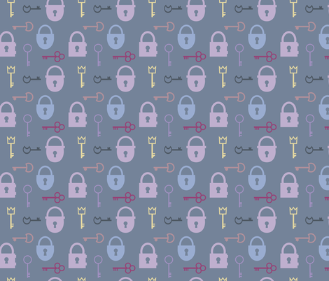 keys and lock fabric by calidurge on Spoonflower - custom fabric