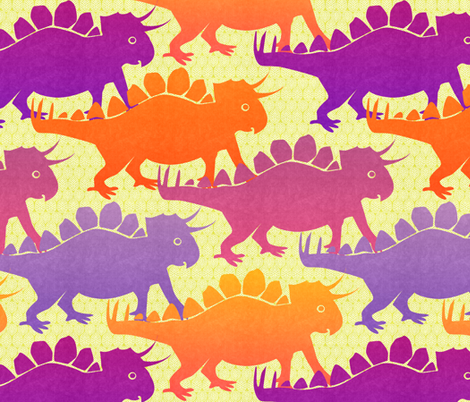 tricera-stegies on the move fabric by glimmericks on Spoonflower - custom fabric