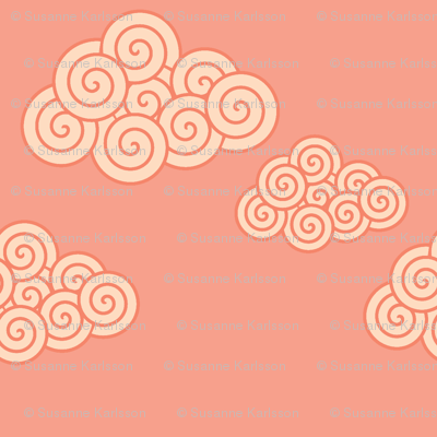 swirly pink clouds