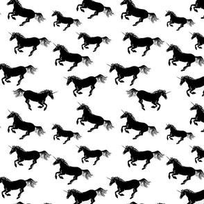 Unicorn Stampede in Black and White LARGE