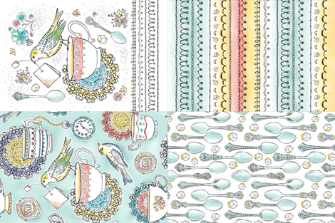Tea Time Kitchen Towel Set Of 4 Designs fabric by heatherdutton on Spoonflower - custom fabric