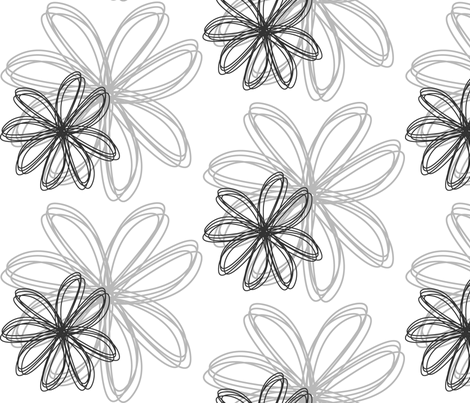flower_burst_Gray fabric by stickelberry on Spoonflower - custom fabric