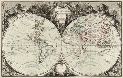 1743 World Map Tapestry