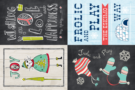 Holiday Tea Towel Set Of 4 Designs fabric by heatherdutton on Spoonflower - custom fabric