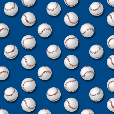 Americana: Baseballs on Blue fabric by lavaguy on Spoonflower - custom fabric