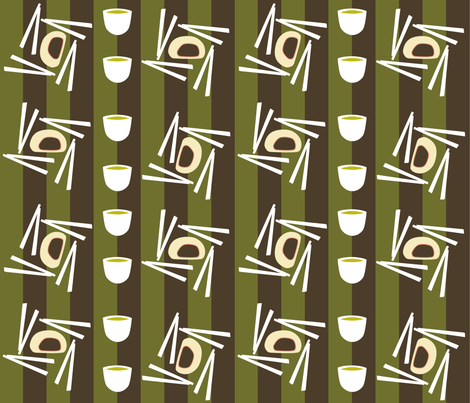 Bau Buns and Green Tea fabric by bone2pixel on Spoonflower - custom fabric
