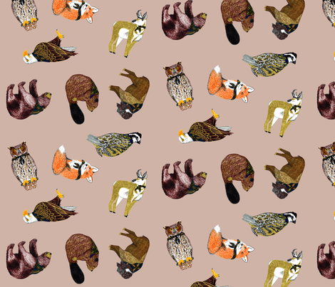 Good Ol' Critters Dove Grey fabric by evenspor on Spoonflower - custom fabric