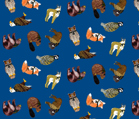 Good Ol' Critters Cub Scout Navy fabric by evenspor on Spoonflower - custom fabric