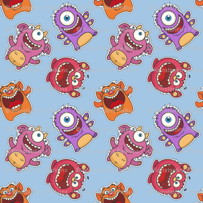 Monsters fabric real illusion spoonflower for Baby monster fabric