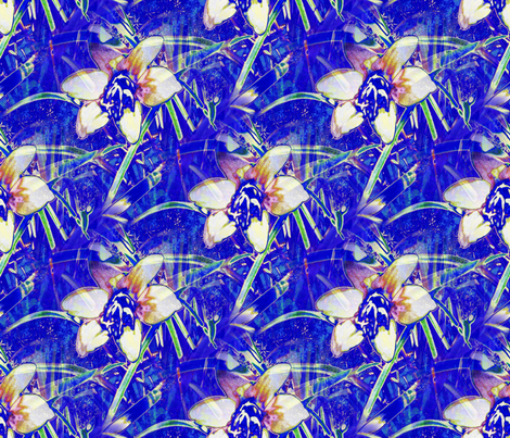Blue Autumn Crocus 10x9 fabric by missourah_gal on Spoonflower - custom fabric