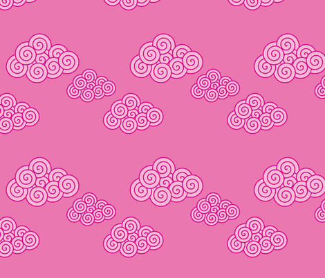swirly cerise clouds fabric by suziedesign on Spoonflower - custom fabric