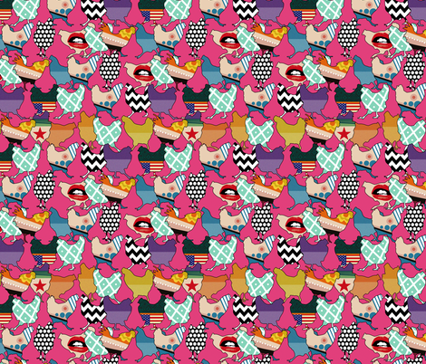 Cincinnati Chickens pink fabric by scrummy on Spoonflower - custom fabric