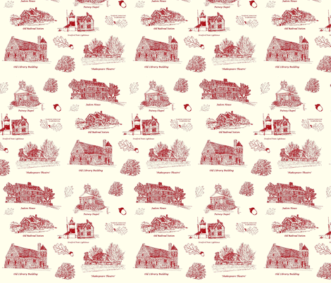 RedCreamStratfordToile fabric by joofalltrades on Spoonflower - custom fabric