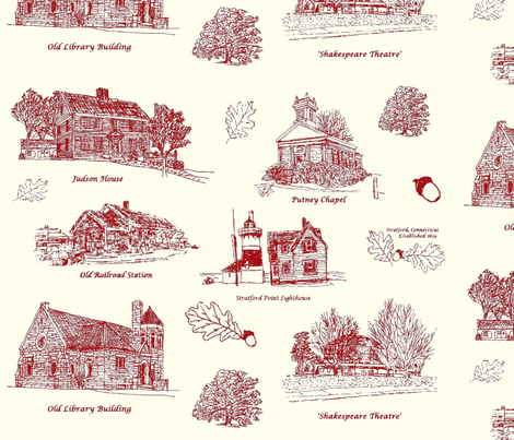 RedCreamStratfordToile_Larger fabric by joofalltrades on Spoonflower - custom fabric